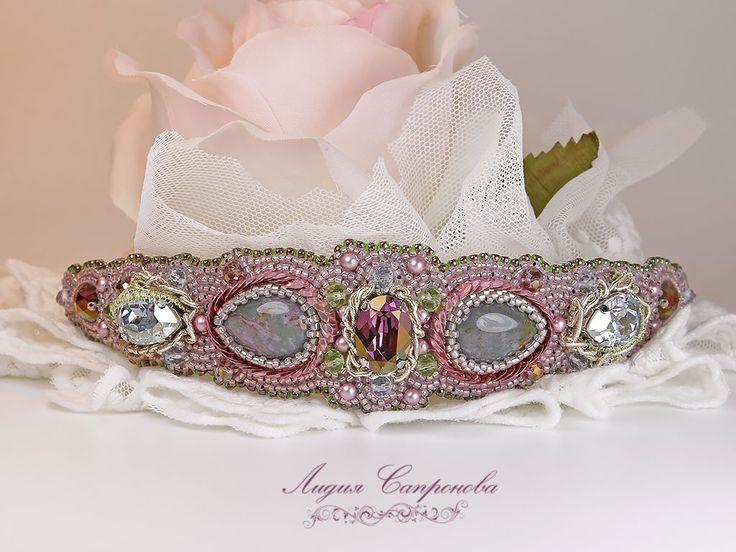 Купить Ободок Лиловый шелк - розовый, бледно-розовый, лиловый, светло-голубой, ободок