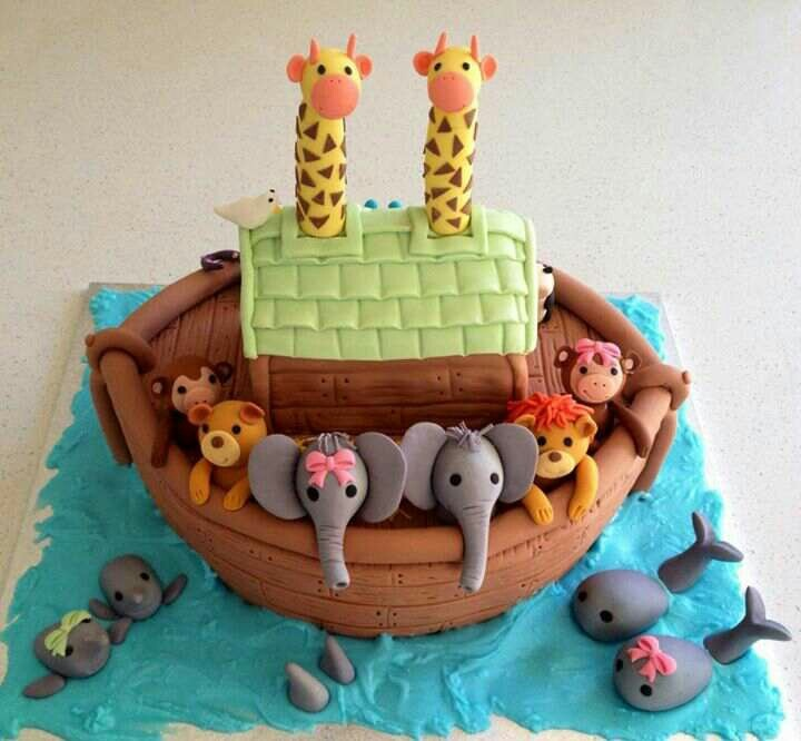 best noah's ark cakes images on   noah ark, noahs, Baby shower invitation