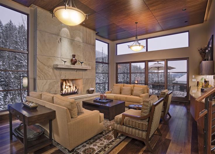 sawed Lyons sandstone fireplace with 200kbtu logset --walnut ceiling panels