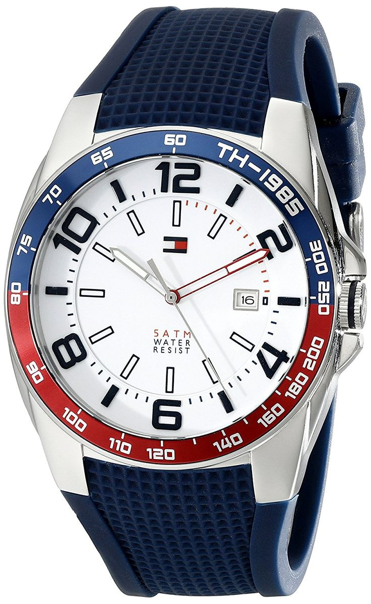 Tommy Hilfiger Men's 1790885 Stainless Steel Watch With Blue Silicone Band >>> Continue to the watch at the image link.