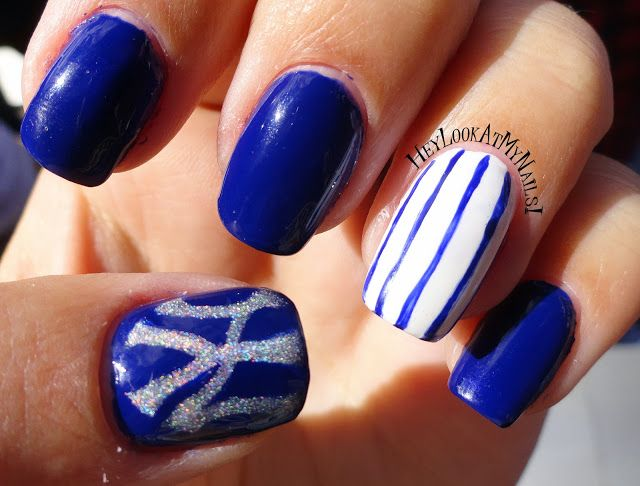 New York Yankees Nail Art - Hey Look At My Nails!