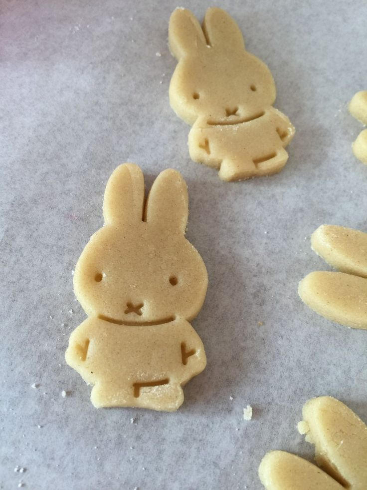 Miffy cookies on a baking tray