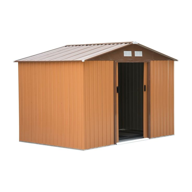 Outsunny Lockable Garden Shed Large Patio Roofed Tool Metal Storage Building Foundation Sheds Box Outdoor Furniture (6 x 6FT, khaki)