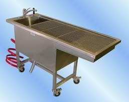 Fish cleaning station - Self-draining cutting board, Grinder and/or chute to bucket for bones and scraps, Storage for knives and needle nose pliers, Spray hose and nozzle, Grilled surface to allow water to drain out, Sink for washing hands, Hands-free faucet and soap dispenser, Easy to clean surfaces.