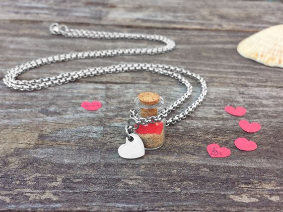 Bottle Necklace, Beach Sea Necklace, Tiny Vial, Little kisse Shell, Sand, Red Paper Heart, Cork, Stainless Steel Chain