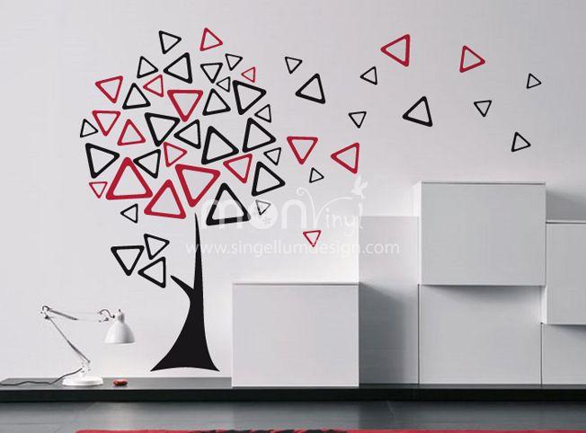 Vinilo arbol triangular vinilos decorativos vinilos for Decoracion paredes vinilos adhesivos