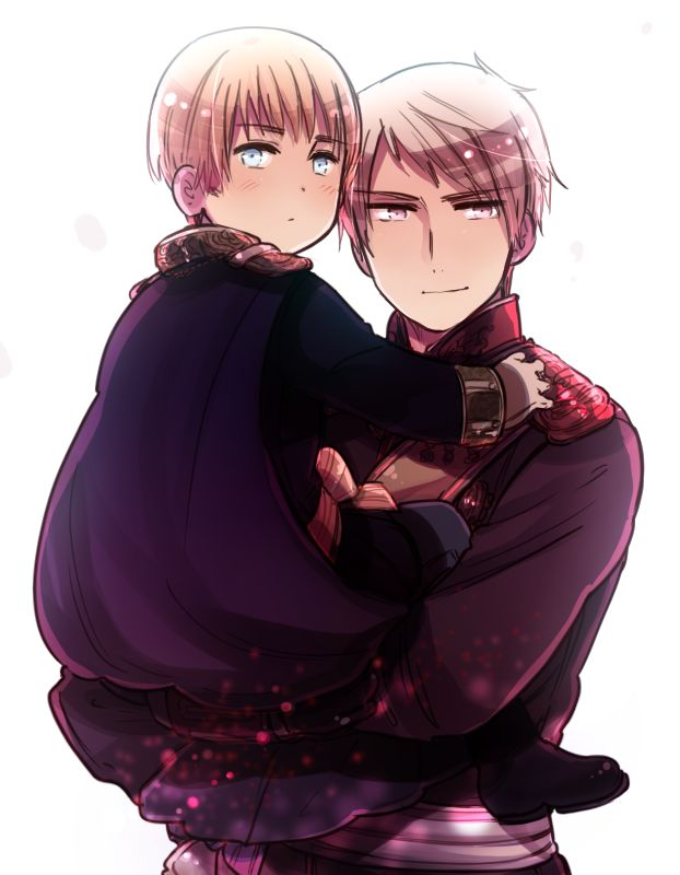 It almost looks like Prussia is a proud dad...so hot!!! <3 ...Yes I know Germany is his little brother, but I'm having a fangirl moment here... ;) #Hetalia #Prussia #Germany