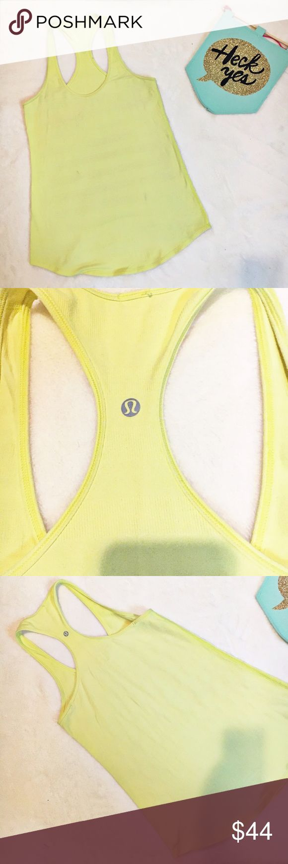 Lululemon yellow razorback tank top 8 This tank is in excellent used condition. There is some texture to the design of the top. The 4th photo shoes it up close. Also, if you feel like the straps are to long you can bring it in to the lululemon store for alterations..The size tags have been taken off just because they were itchy but it is a size 8 approx measurements are: length 28 inches bust 30 inches lululemon athletica Tops Tank Tops