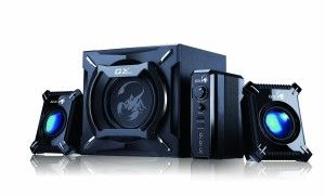 GOgroove: Genius SW-G2.1 2000 Gaming Speaker System Drums and bass are full and thumping, cymbals and hi-hats sizzle; vocals, guitars, horns, keyboards all have a nice presence. A mounting hole on the back of each speaker enables you to place the speakers at head level.  http://awsomegadgetsandtoysforgirlsandboys.com/gogroove/ GOgroove: Genius SW-G2.1 2000 Gaming Speaker System