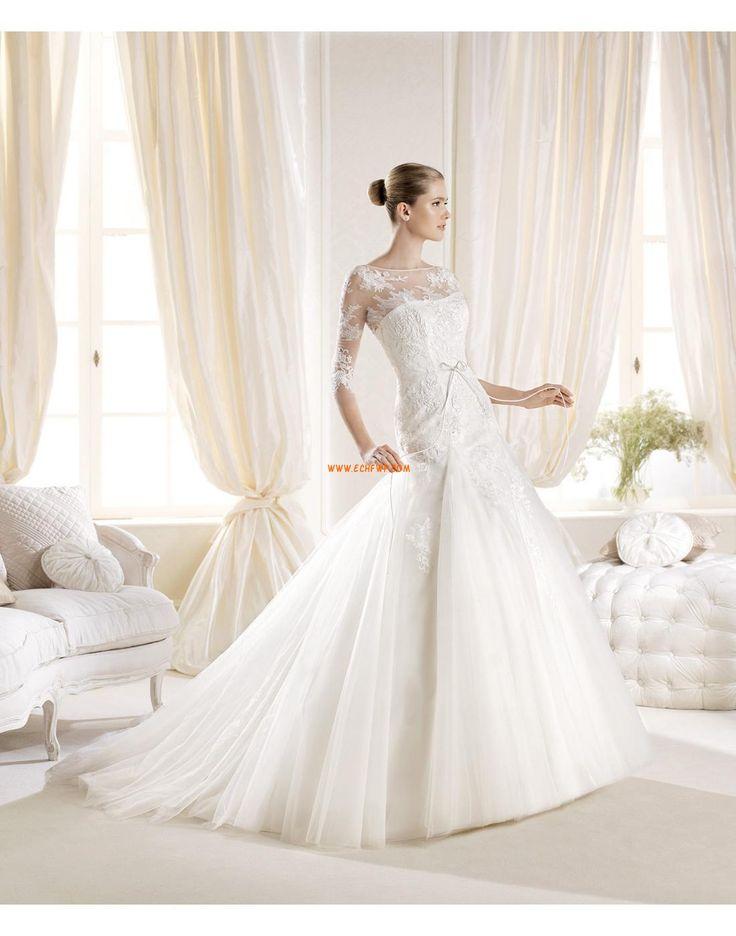 Sirène Manchon de longueur de 3/4. Plongeant Robes de mariée de luxe