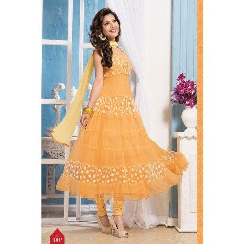 Online Light Orange Outstanding Designer Anarkali Suits