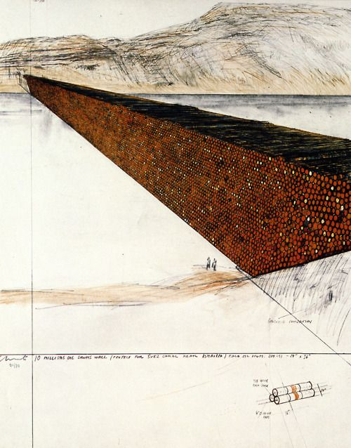 Christo and Jeanne-Claude, Ten Million Oil Drums Wall, Project for the Suez Canal, 1972
