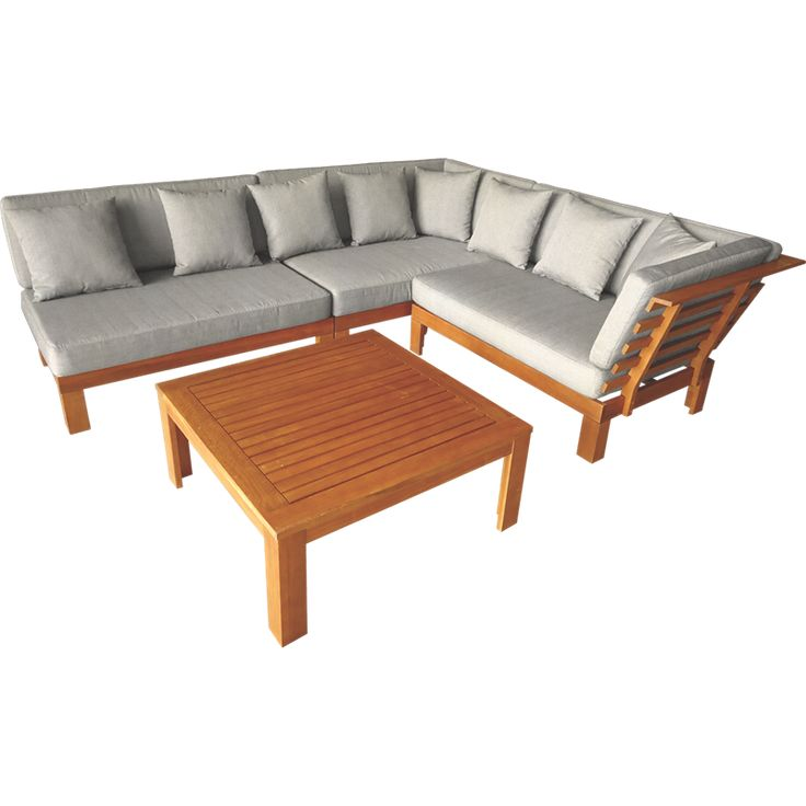 Mimosa 4 Piece Coogee Timber Corner Lounge Setting With Cushions Home Ideal Interiors For My