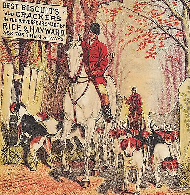 Antique-c-1880-American-Foxhound-Dog-Hunt-Card-Rice-amp-Hayward-Cracker-Providence