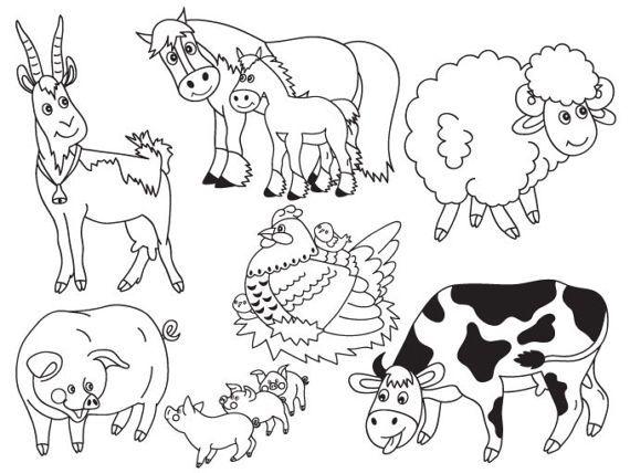 Item Farm Animals Clipart Digital Vector Farm Animals Cow Pig Hen Goat Horse Clip Art For Pers Farm Animals Animal Clipart Black And White Cartoon