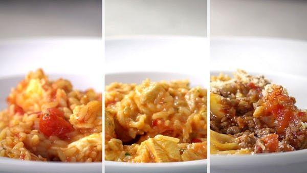 Receita com instruções em vídeo: Que tal preparar uma refeição rápida, prática e deliciosa sujando apenas uma panela?      Ingredientes: 1 colher de sopa de azeite de oliva, 1 cebola picada, 2 dentes de alho picados, 1 xícara de tomatinhos cereja cortados ao meio, 1 xícara de passata de tomate, Folhas de manjericão a gosto, Sal, Pimenta do reino, ¾  xícara de massa tipo risoni, ¾  xícara de água, ¾ xícara de muçarela de búfala em pedaços
