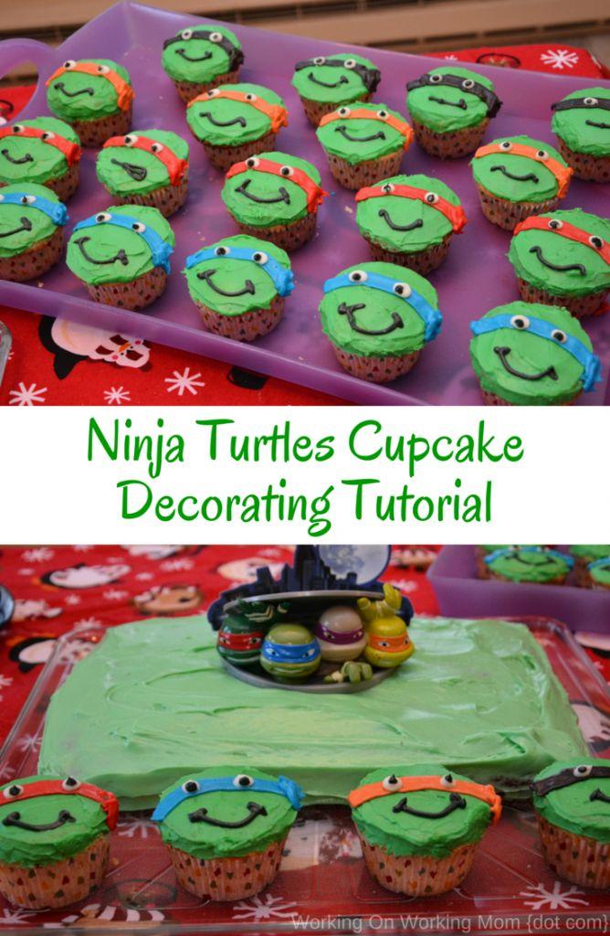 Ninja Turtle Cupcakes Decorating Tutorial - Working On Working Mom {dot com}