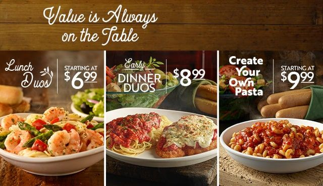 Value Is Always On The Table At Olive Garden Learn More Dinner
