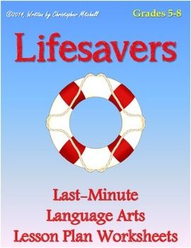 lifesavers last minute language arts lesson plan worksheets for grades 5 8 mister mitchell 39 s. Black Bedroom Furniture Sets. Home Design Ideas