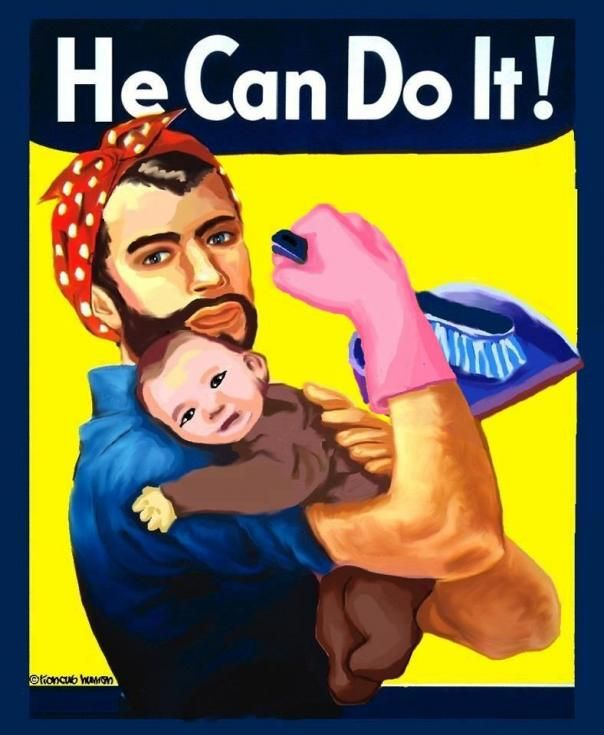 I see this pic on a lot of feminists boards, I think it's funny as hell. If my husband put on some pink gloves and a cute bandana and started cleaning I would kick his ass out the door lol.