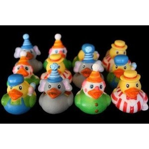 12 Circus Carnival Theme Rubber Ducky Party Favors; do the duck game with the babys name on a few of the ducks, few ppl win prizes that get that duck.