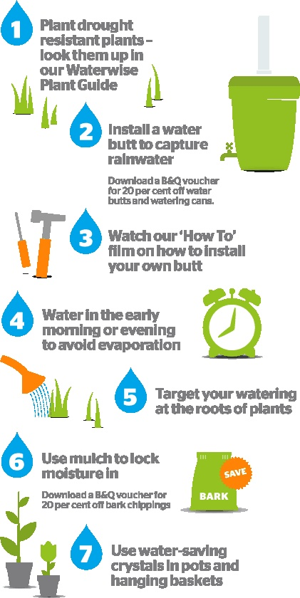 charming Ways To Conserve Water In The Kitchen #3: Tops tips for a water efficient garden.
