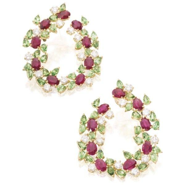 earrings | sotheby's n09522lot8w98nen ❤ liked on Polyvore featuring jewelry, earrings, hoop earrings, fancy jewellery, fancy earrings, ruby hoop earrings and ruby jewelry