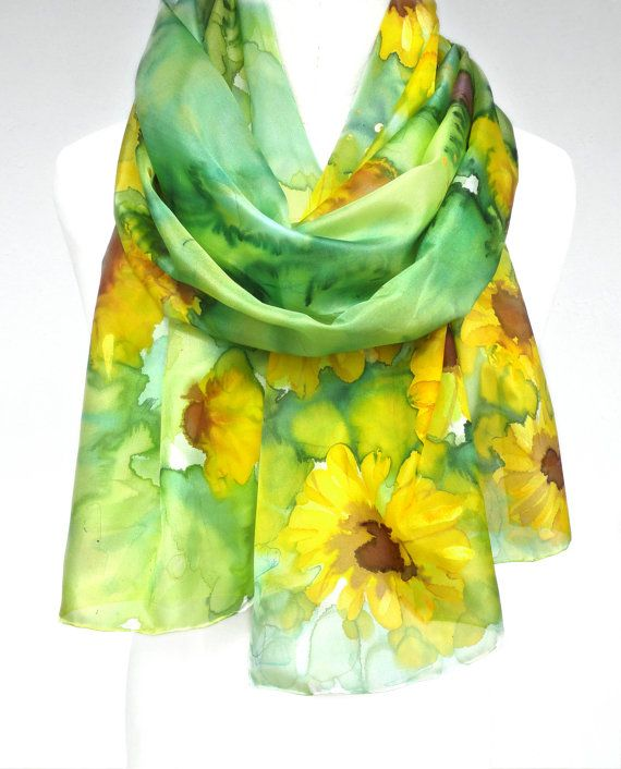 Sunflowers Scarf. Green Silk Scarf. Floral Hand by TeresaMare