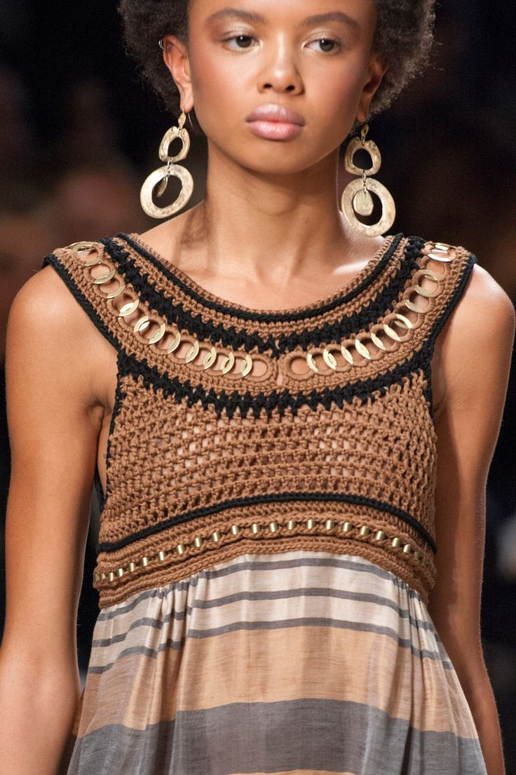 Alberta Ferretti at Milan Fashion Week Spring 2016 - Crochet Yoke