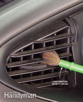A long-bristled artist's brush and furniture polish removes dust well from car air vents