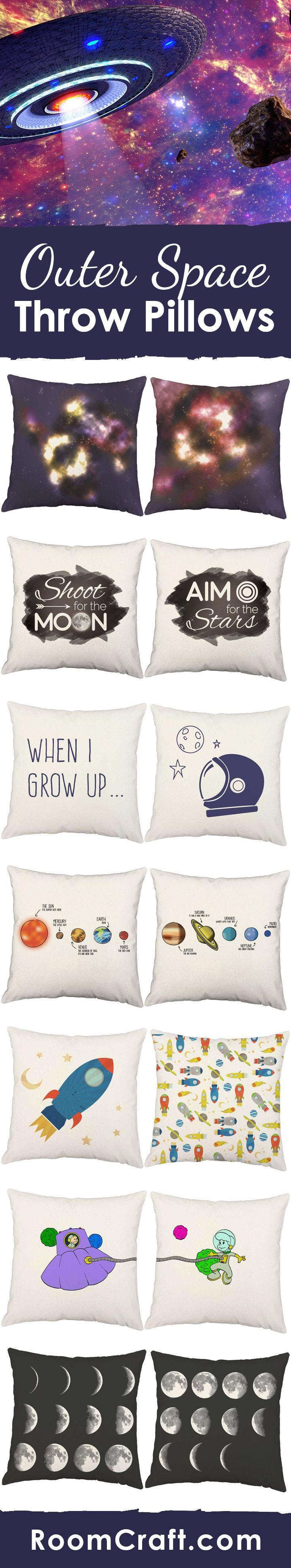 These space throw pillows are out of this world. Click on the link below to see all of the fun and colorful designs available or save to your board for later. Many fabric and size options to choose from to create the perfect outer space pillow cover for any room in your home. #roomcraft makes decorating fun and easy!  https://roomcraft.com/collections/science-space?utm_source=pinterest&utm_medium=organic&utm_campaign=outerspace_pillows_lp_description