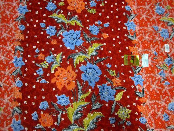 Cotton  Batik Floral Orange  Sarong /Pareo  by BatikCreationsShop,