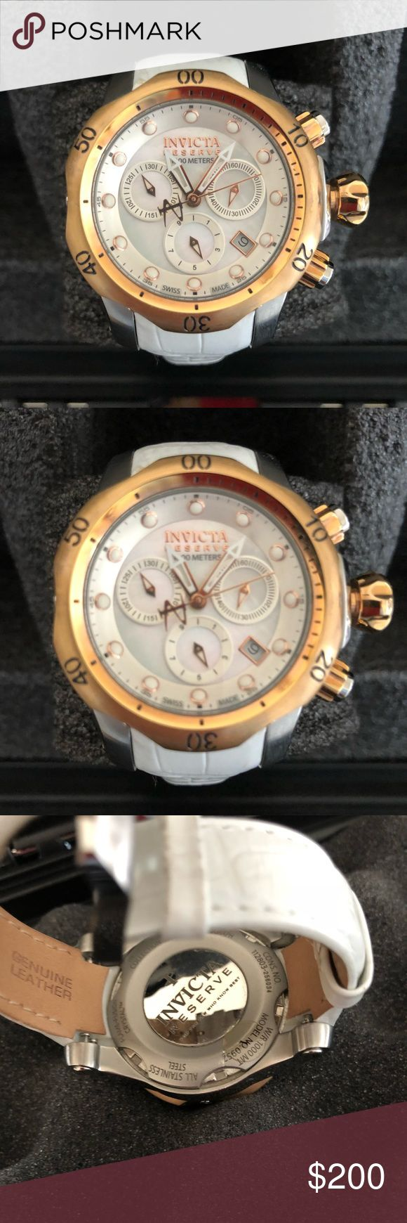 Ladies rose gold Invicta Swiss chronograph watch. Invicta Reserve swiss chronographed rose gold watch with white leather band. Invicta Accessories Watches