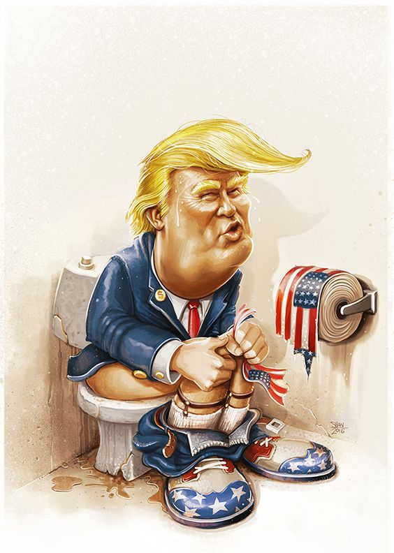 Trump toilet #caricature