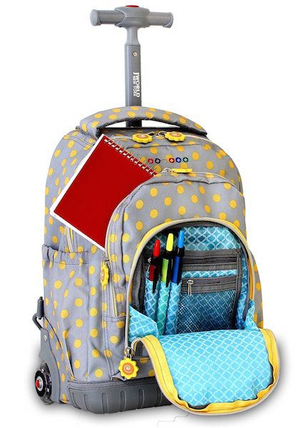 The J World Rolling Backpack for elementary-aged children can double as a school bag and a travel bag. Loaded with pockets, this bag is great for traveling, has light-up wheels and even comes with a lunch bag.