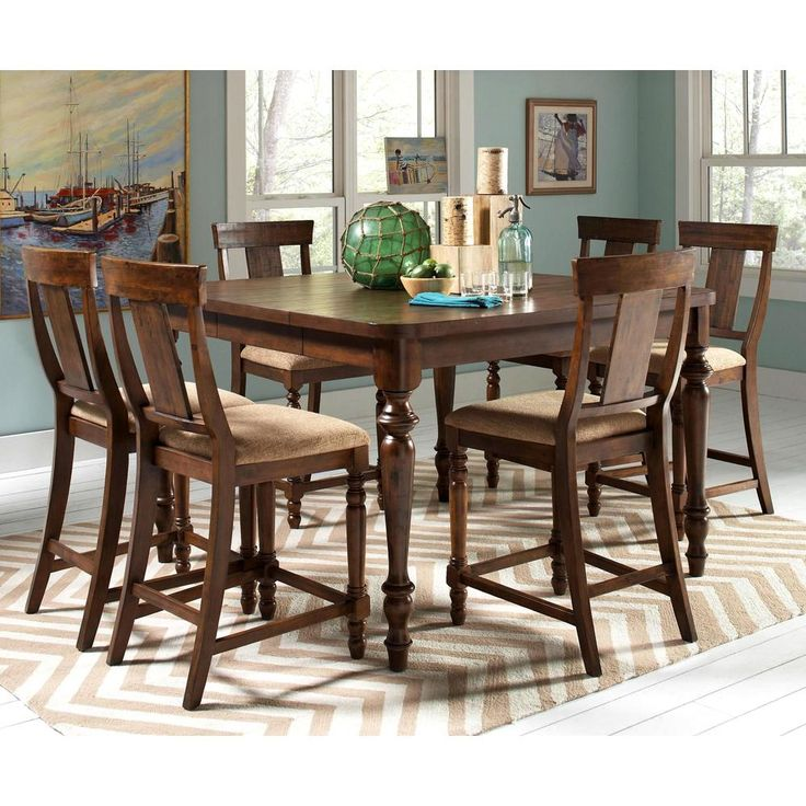 Liatris Rustic 7 Piece Counter Height Dining Set | Overstock™ Shopping   Big