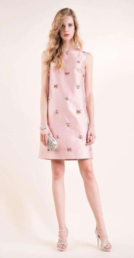 Abiti da cerimonia Luisa Spagnoli 2016 - Vestito rosa con applicazioni