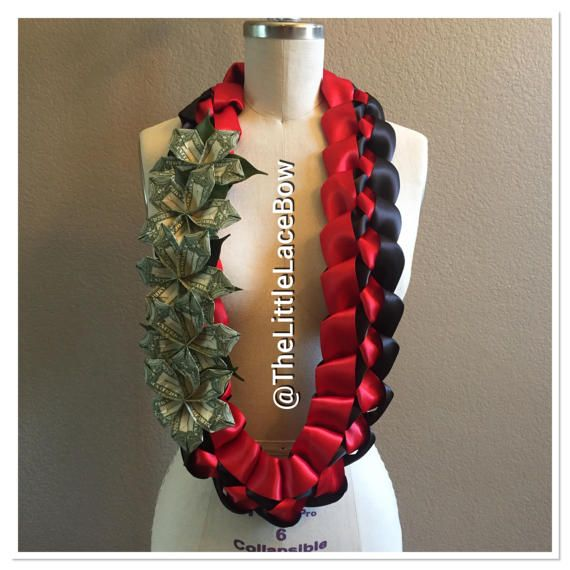 Graduation Money Lei-5x Flower with leafs and by TheLittleLaceBow