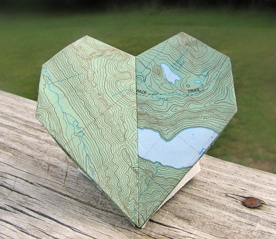 Map to My Heart Origami by Paper Disciple on etsy | could be a really cute addition to a destination wedding invitation suite