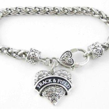 Track, Field Crystal Heart Bracelet