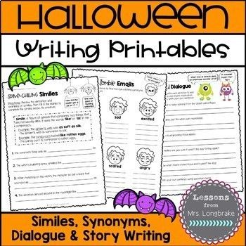 Just in time for Halloween and only $2! Loads of fun writing activities including Spine-chilling Similes, Sinister Synonyms, Dreadful Dialogue and story writing templates!