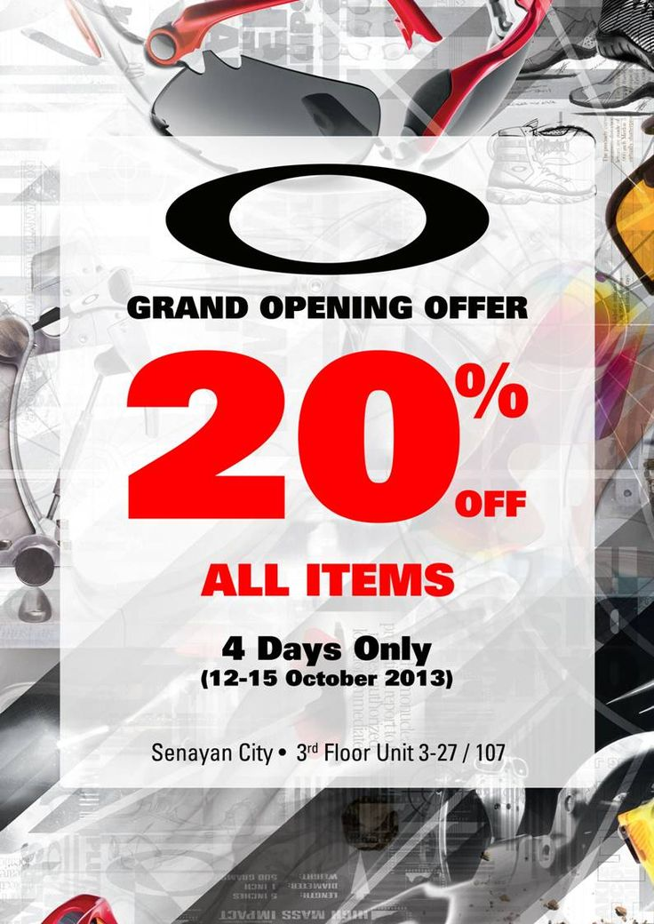 OAKLEY opens its door at Senayan City! Get 20% off all items on opening day!
