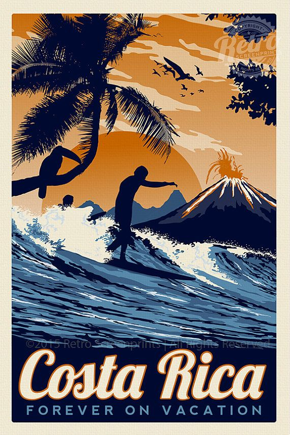 "this is 100% original artwork Costa Rica Retro Vintage Travel Poster Toucan Wave Surf Palm Trees Screen Print  hand screen printed 3 color design.  • ARTWORK SIZE IS 12""X18"" • PRINTED ON VANILLA HEAVY COLD PRESSED ARTBOARD (VERY THICK) • LIMITED RUN OF 50 PRINTS SIGNED AND NUMBERED!   NEED IT FRAMED? Check out my real beach wood frames here! perfect for any screen print! https://www.etsy.com/listing/187879338/real-beach-wood-frame-16-x-22?ref=shop_home_active_6  *Watermark does not appear…"