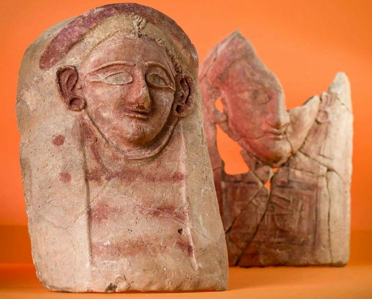 Four ceramic sculptures dating to 2,400 years ago have been reassembled from fragments found in a trash dump in the ancient town of Porphyreon in Lebanon.  archaeology.org/news/5590-170530-lebanon-head-sculptures  (Adam Oleksiak/Polish Centre of Mediterranean Archaeology)