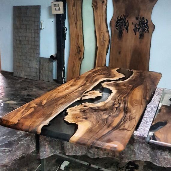 Epoxy-Tisch aus Walnussholz, Epoxy-Tisch aus Holz,…