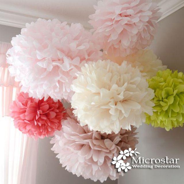 ポンポンpoms 1ピース30センチティッシュペーパー造花ボール結婚式の装飾工芸パーティーホームイベント用品車の装飾