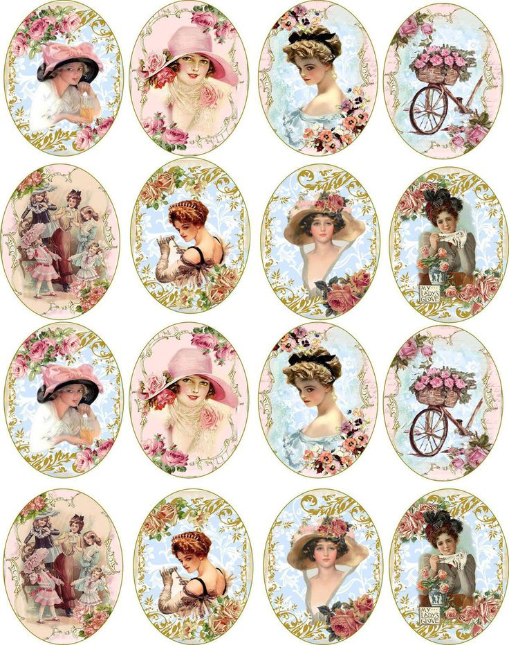 Bottlecap Victorian Women Round and Oval Glossy Stickers Scrapbooking Crafts | eBay