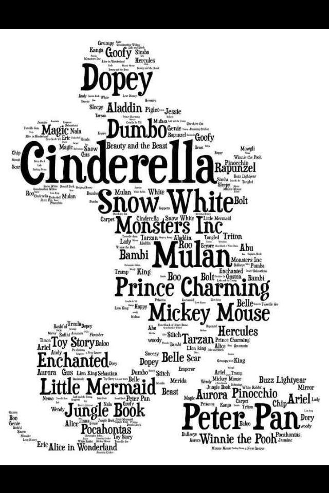 Cinderella, Prince Charming, Mickey Mouse, Litle Mermaid, Dopey, and Snow White ... in Mickey's Silhouette FROM: http://media-cache-ec0.pinimg.com/originals/e6/40/3c/e6403c03b91c84f15ddacff0c715aac8.jpg