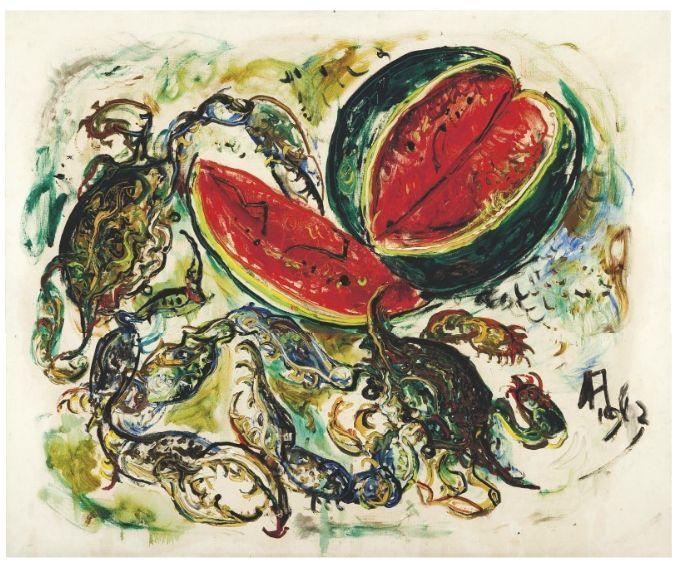 'Crabs and Watermelon', 1962 - Affandi