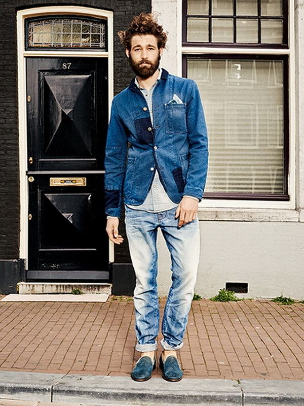 Scotch Soda Patched Denim Jacket, Faded Loose Jeans, and Navy Suede Loafers, by Scotch & Soda. Men's Spring Summer Fashion.